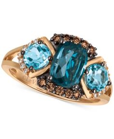 Le Vian® Chocolatier Blue Topaz (2-5/8 ct. t.w.) and Diamond (1/5 ct. t.w.) Ring in 14k Rose Gold, Only at Macy's | macys.com