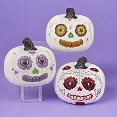 Day of the Dead White and Orange Pumpkin Halloween Decoration - My Sugar Skulls