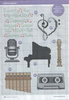 Cross-stitch Musical Things, part 3..  color chart on part 1...    RECUERDOS