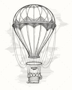 Retro Hot Air Balloon Sketch – Travel Conceptual - New Pin Hot Air Ballon Drawing, Vintage Stickers, Ballon Illustration, Air Balloon Tattoo, Pen Sketch, Vintage Art, Vintage Drawing, How To Draw Hands, Drawings