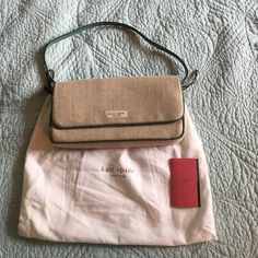 """NWT Kate Spade mini hand bag Linen foldover purse with green leather trim.  Magnetic foldover latch and one inside pocket. Comes with original dust bag.  10"""" x 5"""" x 1-1/2"""" kate spade Bags"""