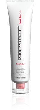 Paul Mitchell Flexible Style, Re-Works Texture Cream.  Thick/coarse hair.  Medium hold, pliable.  Great on short, choppy cuts.