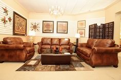 Brown Leather Sofa, Loveseat and Chair - Colleen's Classic Consignment, Las Vegas, NV - www.colleenconsign.com