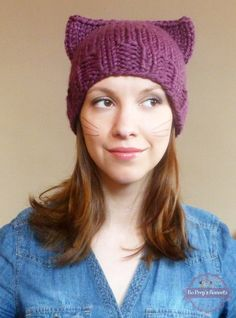 Cat Ears Hat Hand Knit Cat Hat  Knitted Cat by BoPeepsBonnets