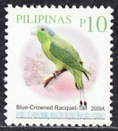 Philippines Stamp-  Bird Blue Crowned Racquet