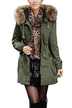4HOW Women's Faux Fur Lined Coats Winter Parkas Hooded Outerwear