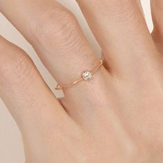 Gemmyo : Bague Mini Bride Round - Or rose 18 cts, Diamant