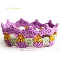baby crown, baby tiara , princess crowns, crochet baby crown pattern
