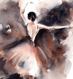 Acuarela de la bailarina el arte moderno abstracto arte de