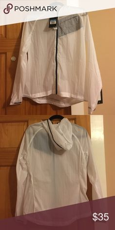 Nike lightweight running jacket Brand new! Tags still on! Very light, fresh running jacket. Ultra thin, good to throw on if you like to go on runs outdoors. Material is thin. Color white but also see through. Nike Jackets & Coats
