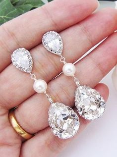 Swarovski Crystal with Pearl Bridal Earrings from EarringsNation Bridesmaid Gifts