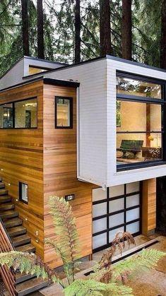 Cabin Design, Tiny House Design, Modern Home Design, Forest House, Forest Cabin, Farm House, Container House Design, Container Homes, Dream House Exterior