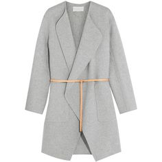 Vanessa Bruno Dugny oversized belted wool and cashmere-blend coat (3.880 DKK) ❤ liked on Polyvore featuring outerwear, coats, jackets, coats & jackets, oversized coat, reversible wool coat, reversible coat, light grey wool coat and belted wool coats