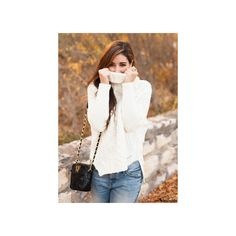SheIn(sheinside) White Long Sleeve Turtleneck Chunky Cable Knit... ($25) ❤ liked on Polyvore featuring tops, sweaters, modeli, cable turtleneck sweater, turtle neck sweater, white pullover sweater, cable knit turtleneck sweater and long sleeve pullover sweater