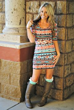 MADE YOU LOOK MINT AZTEC DRESS. decadence boutique RESTOCKED!