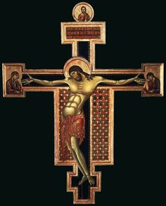 El Crucifijo de San Domenico en Arezzo (336x267cm) es una cruz pintada con témpera y oro sobre tabla del Cimabue, fechable en los años 1268-1271. Es la primera obra atribuida al maestro, y se nota una separación del estilo bizantino a la enseña de un mayor expresionismo. La cruz expone la iconografía del Christus patiens, es decir un cristo moribundo en la cruz, con los ojos cerrados, la cabeza apoyada sobre un hombro y el cuerpo arqueado hacia la izquierda.