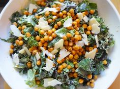 Kale makes its grand entrance covered in caesar dressing and adorned in roasted chickpeas. Kale Caesar Salad for the win!