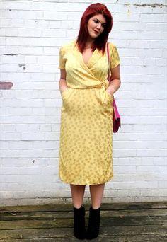 1970s silky yellow polka dot dress