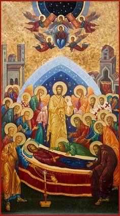 Dormition of the Theotokos. The biggest feast day of the Theotokos on the Orthodox calendar. Religious Images, Religious Icons, Religious Art, Byzantine Icons, Byzantine Art, Monastery Icons, Religious Paintings, Holy Mary, Orthodox Christianity