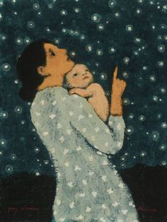 Brian Kershisnik - Young Astronomer I - Meyer Gallery Painting Inspiration, Art Inspo, Lds Art, Mother Art, Children's Book Illustration, Brian Kershisnik, Cool Art, Art Drawings, Art Photography