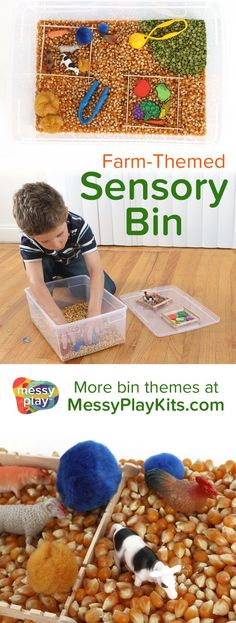This Farm Sensory Bin includes popcorn, split peas, themed toys, and 2 fine motor tools. The popsicle sticks are fences for the animals and the garden and the pompoms are water stations for the thirsty animals! #messyplaykits #sensorybin #farmtoys