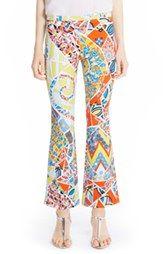 Emilio Pucci Print Stretch Cotton Crop Bootcut Pants