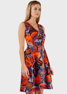Multi V Neck Cross Over Print Dress