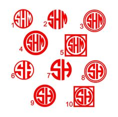 Circle Font Monogram Decal Circle monogram by CreationsBySabrinaNC