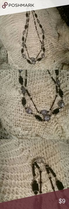 Handmade jewerly This awesome black  & gray glass beads square , round and oval also black seed beads..silver tone clasp and made with love Handmade by 213connie Jewelry Necklaces