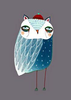 Blue Night Owl. Illustration Art Print., Owl Poster, Kids Print. by AshleyPercival on Etsy https://www.etsy.com/listing/66281583/blue-night-owl-illustration-art-print