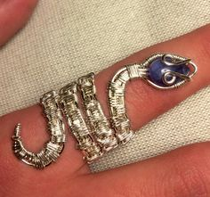 Wire wrapped snake ring with gemstone head by MP5CustomCre8ions