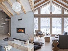 Norwegian mountain cabin - Deilig design i stuen Chalet Interior, Modern Interior, Interior Design, Interior Ideas, Living Area, Living Room Decor, Log Cabin Living, Apartment Layout, Loft Design