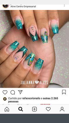 Colorful Nail Designs, Short Nail Designs, Gel Nail Designs, Blush Nails, Glitter Nails, Beautiful Nail Art, Gorgeous Nails, Acrylic Nails, Gel Nails