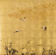 #gold #birds #artwork  Susan Goldsmith Homeward, 2015 Gold Leaf with Pigment…