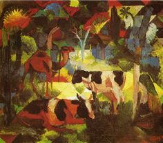 August Macke (German, 1887-1914)  'Landscape with Cows and Camel', 1914