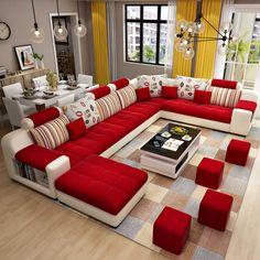 Source Furniture Factory Provided Living Room Sofas/Fabric Sofa Bed Royal Sofa o… Corner Sofa Design, Living Room Sofa Design, Home Room Design, Living Room Designs, Modern Sofa Designs, Sofa Set Designs, Furniture Sofa Set, Furniture Design, Modern Furniture
