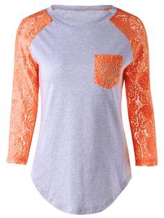 $10.66 Lace Splicing Single Pocket T-Shirt