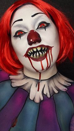 Find images and videos about Halloween, clown makeup and theatrical makeup on We Heart It - the app to get lost in what you love. Scary Clown Makeup, Creepy Clown, Spooky Scary, Halloween Look, Halloween Makeup Looks, Maquillage Halloween Clown, Horror Make-up, Halloween Contacts, Clown Faces