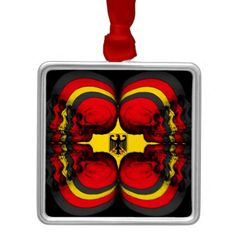 Skull World German Flag Metal Ornament - home gifts ideas decor special unique custom individual customized individualized