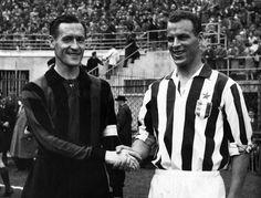 Nils Liedholm(Milan) and John Charles(Juventus), 1959.  Source: Il Post