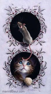 """Cat and mouse trompe-l'oeil. """"Bêtises 16"""", oil and ink, 14"""" x 8"""", sold. Marina Dieul"""