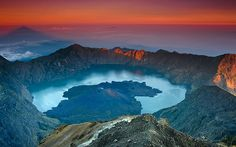 """Crimson Sunrise"" Gunung Rinjani,Lombok, Indonesia"