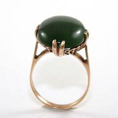Vintage Antique Estate 18K Yellow Gold Nephrite Jade Ring Size 6 QR1 #Solitaire