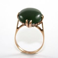 Vintage Antique Estate 18K Yellow Gold Nephrite Jade Ring Size 6 QR1 #Solitaire