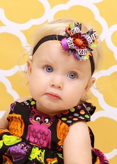 """10% off by liking Lebelle Boutique on Facebook...2.5"""" Mini Lil' Sister Halloween Pumpkin Zebra Stripes & Polka Dots Stacked Hair Bow"""