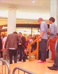 Niall and Louis literally wait until Harry's got the balloon animal down the steps haha