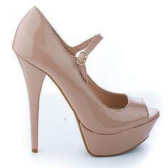 Confident01 By Anne Michelle, Mary Jane Peep Toe Platform Stiletto Heel Pumps