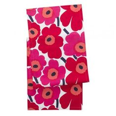 Marimekko Pieni Unikko Red/White Table Runner A little can go a long way with the Marimekko Unikko Red/White Table Runner. Covering the middle section of a dining room table length-wise, this cotton table runner will instantly turn your dinin. Red And Pink, Pink White, Red And White, Marimekko Fabric, Shops, Bold Prints, Fabric Swatches, Textile Design, House Colors