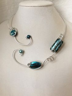 Your place to buy and sell all things handmade Teal Necklace, Wire Necklace, Collar Necklace, Necklaces, Earrings, Teal Jewelry, Wire Jewelry, Cardboard Jewelry Boxes, Wire Bracelets