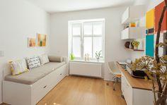 Malý byt 1+1 – HANÁK Olomouc Study Design, Corner Desk, Bench, Storage, Furniture, Home Decor, Ideas, Corner Table, Purse Storage